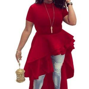 Red Asymmetrical Shirt Dress